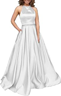 09d08539837a Women's Halter A-line Beaded Satin Evening Prom Dress Long Formal Gown with  Pockets