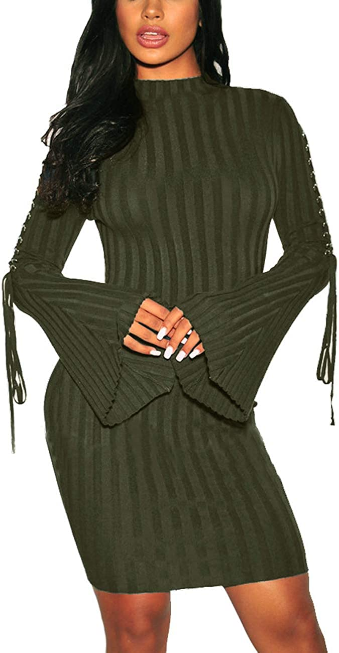 Women Bodycon Ribbed Sweater Dress Sexy Long Sleeve Maxi Knit Stretchy Pullover Dresses