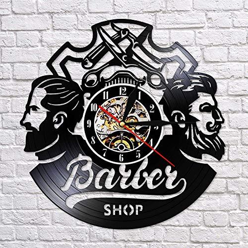 BFMBCHDJ Barber Shop Logo Hair Salon Decor Vintage Vinyl Record Reloj de Pared Accesorios para el Cabello Peluquería Letrero de Pared Reloj de Pared Decorativo con LED 12 Pulgadas