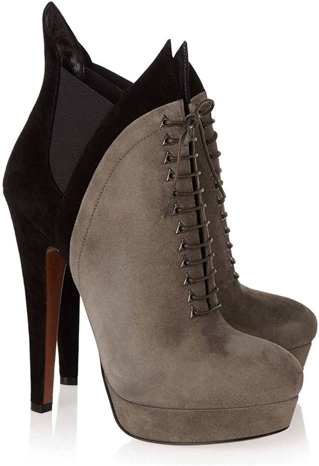 High-Heeled Ankle Boots with Waterproof Platform Boots Spring and Autumn and Winter Round Head Women's Boots