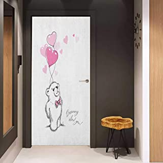 Onefzc Automatic Door Sticker Bear Sweet Little Teddy Bear Keeping Pink Heart Shaped Balloons Romantic Quote Easy-to-Clean, Durable W38.5 x H77 Pale Pink Black White