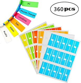 Self-Adhesive Cable Labels Tags Cable Label Stickers A4 Sheets Size Waterproof and Flexible Works with Laser Printer - 6 Assorted Colors 12 Sheets 360 Labels
