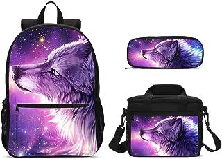 3D Animal Galaxy Wolf Mochilas Set de 3 piezas bolsa de almuerzo grande estuche para lápices para niños de vuelta a la escuela, mochila ligera para niños y niñas