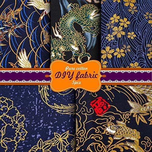 Souarts Patchwork Stoffe Baumwollstoff Set Japanischer Stil Stoffpakete Dekostoff Bekleidung DIY Basteln 5pcs(Braun,5PCS 50x50cm)