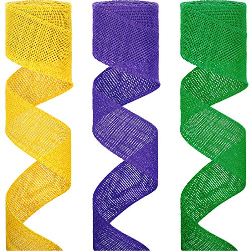 3 Rolls Mardi Gras/ Carnival Ribbon Craft Burlap Ribbon Natural Mesh Ribbon Colorful Wrapping Ribbon for DIY Tree Topper, Bows, Garlands, 2.4 Inch x 6.5 Yard (Purple, Green, Yellow)