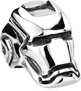 Sping Jewelry Iron-Man Avengers Grip Marvel Super Hero Ring Silver Titanium Steel High Polished Armor Mask Helmet Band