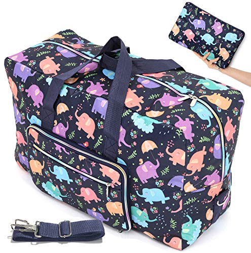 Large Foldable Travel Duffle Bag For Women Hospital Bag Cute Floral Tote Handbag Shoulder Weekender Overnight Carry On Checked Luggage Bag For Girls (elephant)