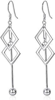 925 Sterling Silver Dangle Earrings Geometric Earrings for Women