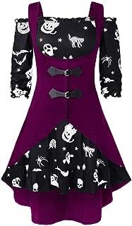 Fshinging Women Plus Size Shoulder Pumpkin Print Party Dress Halloween Vintage Dress with Vest
