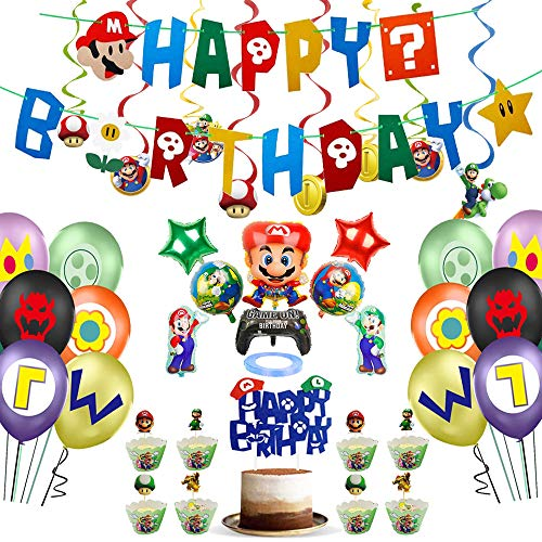 Marrio Birthday Party Supplies - Super Marrio Bros Happy Birthday Banner,Balloon,Cake and Cupcake Toppers, Cup Cake Wrappers,Hanging Swirls, Party Marrio Decorations Kit for Kids Room Decor/ Birthday Party Decoration,115PCS IN ALL