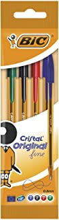 BIC Cristal Original Fine Ballpoint Pens Assorted Colours (Pack of 4)