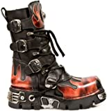 New Rock Newrock 591-S1 RED Flame Metallic Black Leather Boot Biker Goth Boots