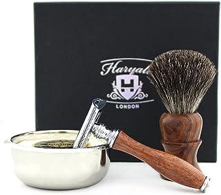 Zestaw do golenia dla mężczyzn, zawiera golarkę z podwójną krawędzią, mydło do golenia, pędzel do borsuka do golenia, misk...
