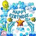 MMTX Anniversaire Bleus Blancs Ballons pour Garçons Bébé Anniversaire fête Décoration,Bithday bannière avec Animaux Marins Dauphin Coquille Étoile Poisson Ballon pour Garçons Anniversaire Décoration