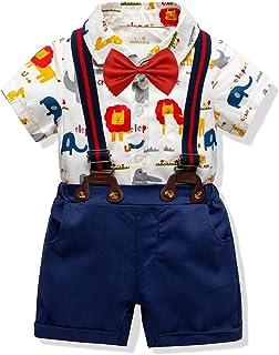 29bdfb2e7c3ad ZOEREA 4pc Bébé Garçon Costumes Ensembles Chemise à imprimé Animal  Barboteuses + Pantalon Court + Bretelles