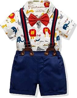 Baby Boys Gentleman Romper Jumpsuit Overalls Rompers Set,Infant Short Sleeve Shirt+Bib Pants+Bow Tie Overalls Clothes Set