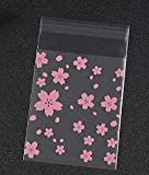 Pink Cherry Blossoms 100 Pcs OPP Cookie Biscuits Packaging Bag Transparent Wedding Party Candy Cake Baking Cellophane Bags (7x7cm)