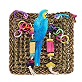 Straw Braid Rope Climbing Net Hammock Ladder Bird Chew Toy for Parrot Budgie Parakeet Cockatiel Conure Lovebird Finch Canary Cockatoo African Grey Macaw Eclectus Amazon Cage Perch Stand
