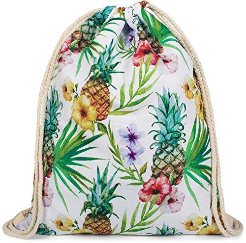 styleBREAKER Tropic Turnbeutel mit All Over Ananas, Blumen, Blüten, Palmen Print, Rucksack, Sportbeutel, Beutel, Unisex 02012236, Farbe:Mehrfarbig