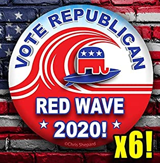 Red Wave 2020 - Vote Republican 6-Button Pack - Election Badges - Six Gop Conservative Pins