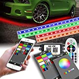 SUNPIE Car LED Underglow Lighting Kit, Car Underbody Light kit, Undercar Neon Strips Lights Kit Multi-Color RGB with Phone APP&Remote&Aluminum Case