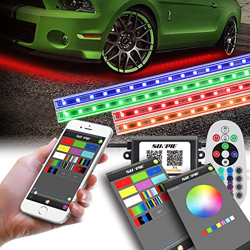 Car LED Underglow Lighting Kit, Car Underbody light kit, Undercar Neon Strips Lights Kit Multi-Color RGB with Phone APP&Remote&Aluminum Case