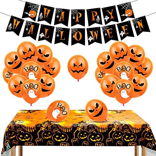 Aurasky Globo de Halloween, Mantel de Halloween, Halloween Decoracion, Decoracion Halloween Casa, Decoración de Fiesta de Halloween Set, Pancarta de Feliz Halloween, 24 Piezas Globos de Látex