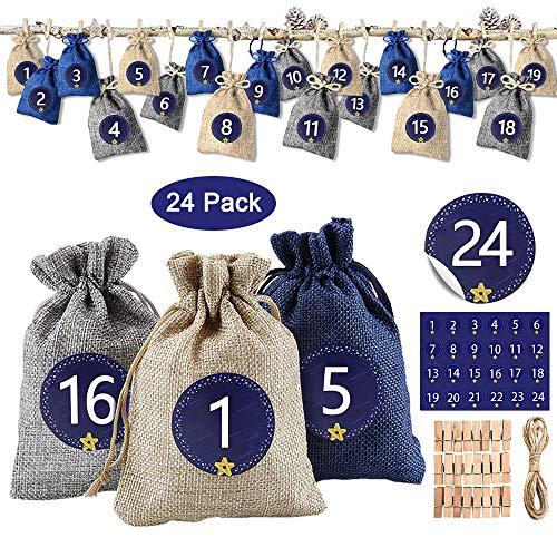 solawill 24 Adventskalender zum Befüllen , Weihnachten Geschenksäckchen mit 1-24 Adventszahlen Aufkleber Stoffbeutel Weihnachtskalender Bastelset für DIY Handwerk Männer Kinder
