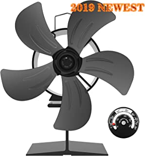 KINDEN Wood Stove Fan 5-Blade - Heat Powered Fireplace Fans for Log Burner Ultra Quiet Eco-Friendly with Stove Thermometer (Aluminium Black)