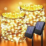 Anpro Cadena de luz solar para exteriores, 2 juegos de 200 LED, 8 modos de iluminación, con energía solar IP65 a prueba de agua (blanco cálido)