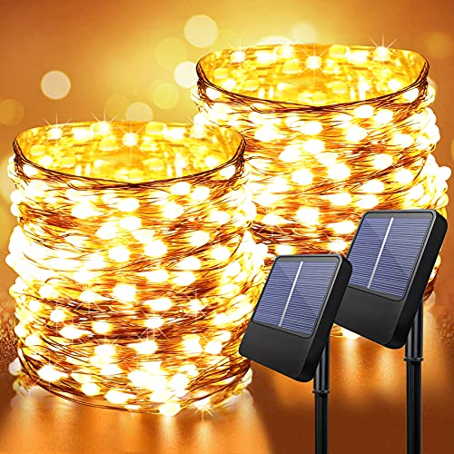 Solar Outdoor Light String- 2 Set of Anpro 33Feet 100 LED Copper Wire Lights, Solar Powered Fairy Lights, Waterproof Solar Decoration Lights for Garden Yard Party Wedding Christmas (Warm White)
