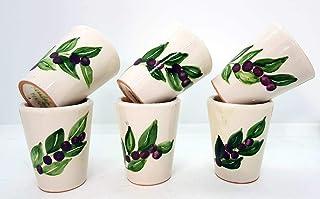 n. 6 Bicchierini da Mirto Realizzati e dipinti a mano Le Ceramiche del Castello Made in Italy dimensioni h 6,5 x l 5 centi...