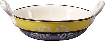 Caffeine Ceramic Handmade Yellow Leaf Printed Serving Kadhai Large (Set of 1) 1)