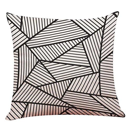 UBabamama géométrique Home Decor Housse de coussin Noir Blanc Style plantes Couvre-lit Taie d'oreiller Taie d'oreiller 45 x 45cm E