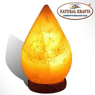 Natural Himalayan Rock Crystal Salt Tear Drop Shape Lamp with Wooden Base,Very Rare Himalayan Pink Salt Lamp Crystal with Cable & Bulb