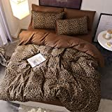 Siluoyu 3 Pieces Duvet Cover Set 100% Natural Cotton King Size Leopard Print Bedding Set 1 Duvet Cover 2 Pillowcases Luxury Quality Soft Breathable Comfortable Durable with Zipper Ties