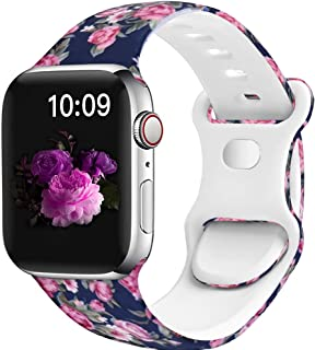 OriBear Watch Band Compatible with Apple Watch Band 38mm 40mm 44mm 42mm Elegant Floral Iwatch Bands for Women Soft Silicon...