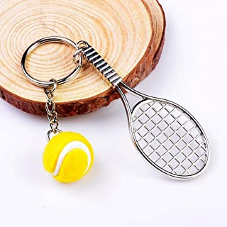 NATFUR Tennis Ball Racket Charm Pendant Sports Keyring Keychain Key Ring Chain Gift Elegant for Women for Men Holder for Girls for Gift Beautiful | Pendant - Yellow