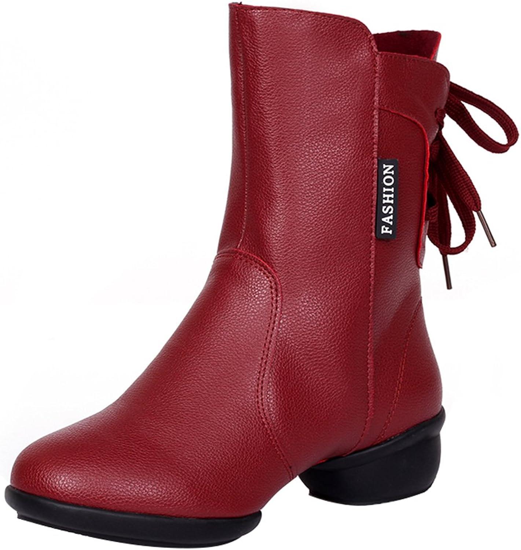 Abby 313 Womens Standard Ballroom Show Party Jazz Closed Toe High Top Mid Heel Rumba PU Zip Dance Boots