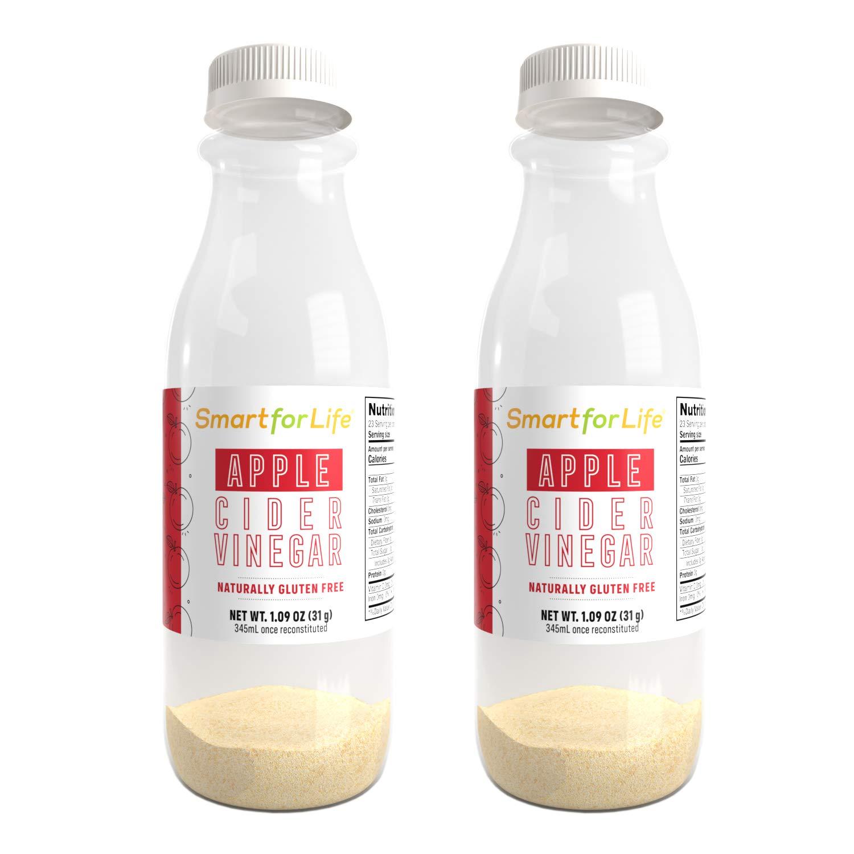 Smart for Life Apple Cider Vinegar Powder Drink - Natural Gluten-Free Dehydrated Apple Cider Vinegar with the Mother - Unfiltered Kosher Apple Cider Vinegar Sweetened with Allulose-2 pack