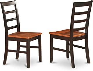 East West Furniture Chair Set with Wood Seat, Black and cherry Finish, Set of 2