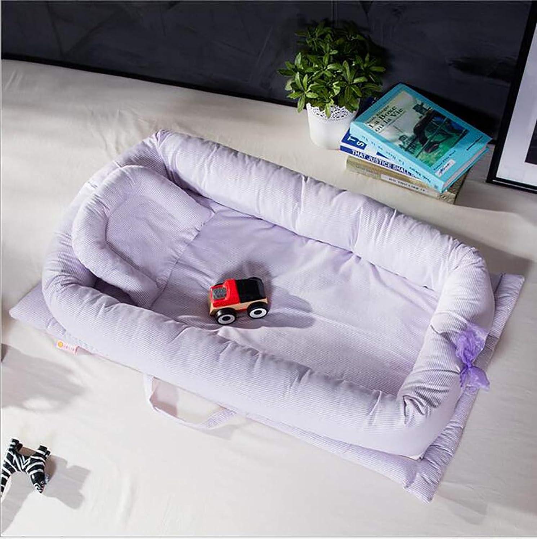 Baby Nest Lounger, 100% Cotton Nest Newborn Portable Crib, Breathable and Hypoallergenic for Newborn 0-24 Months (90  55  15cm),C