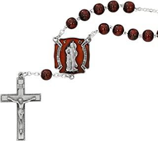 FIREFIGHTERS AUTO ROSARY WITH ST. FLORIAN AND TWO PRAYER CARDS
