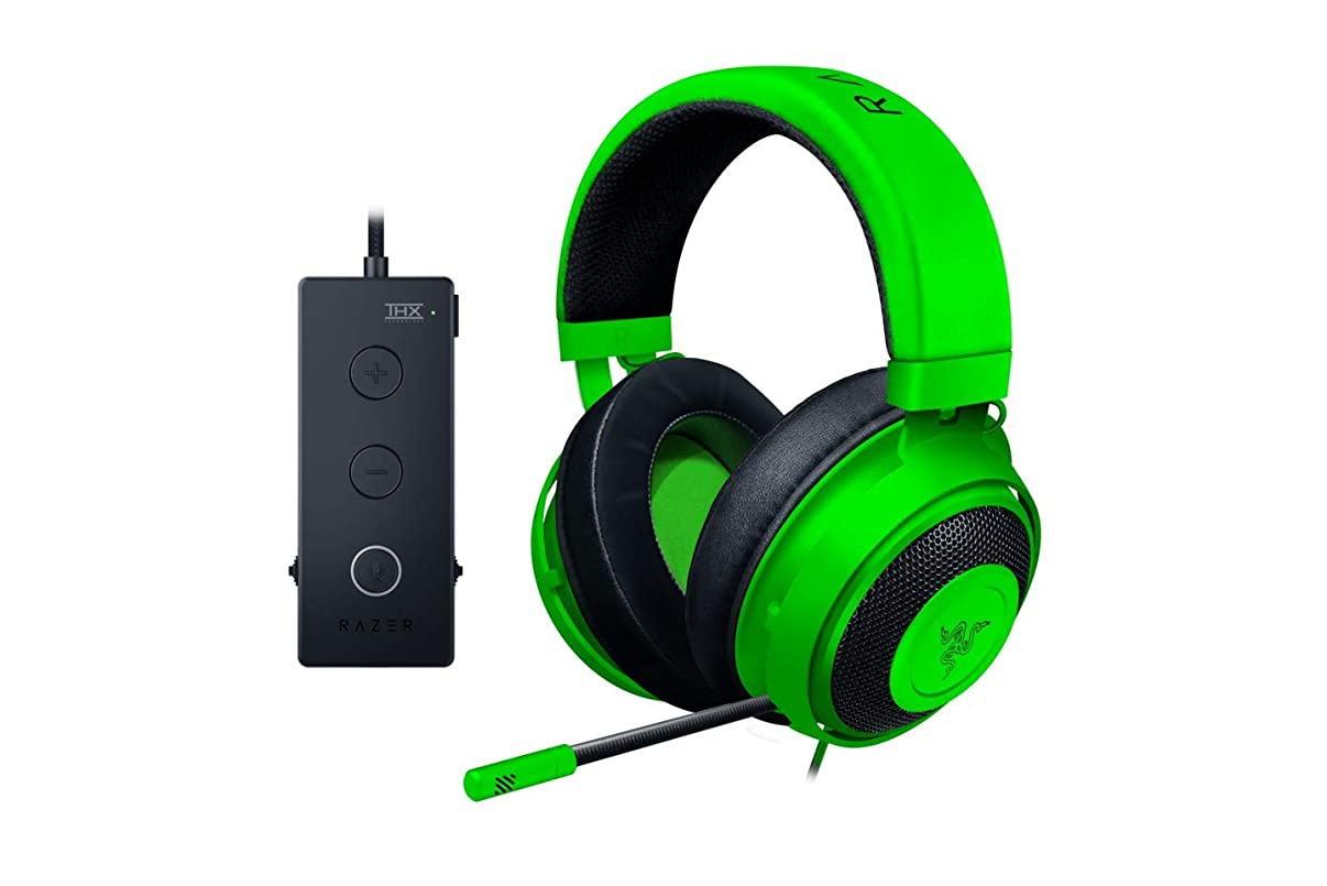 Razer Kraken Tournament Edition Gaming Headset - [Green]: Aluminum Frame - Retractable Noise Cancelling Mic - THX 7.1 Surround Sound USB DAC - for PC, Xbox, PS4, Nintendo Switch