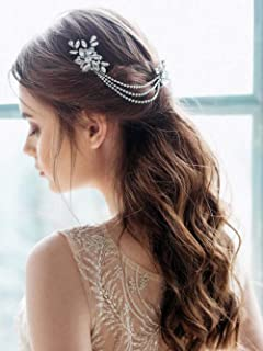 Unicra Wedding Hair Chain Comb Handmade Wedding Bridal Hair Accessories for Brides and Bridesmaids (Silver)