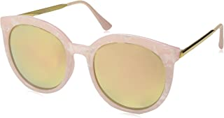 zeroUV - Womens Oversized Marble Finish Metal Temple Mirrored Lens Round Sunglasses
