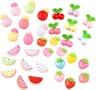 33 Pack Fruits Slime Charms Watermelon Strawberry Cherry Pineapple Apple Resin Flatback Beads for Hair Accessories Phone Case Scrapbooking Decor