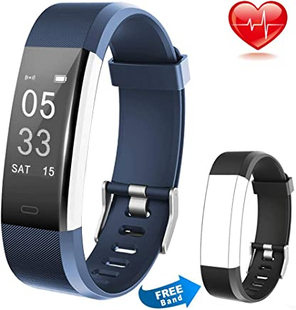 Lintelek Fitness Tracker Wireless Charging Message Call Reminder Heart Rate Monitor, Waterproof Activity Tracker Sleep Monitor, Smart Watch Calorie Counter Replacement Band Android iOS, Men Women Kids