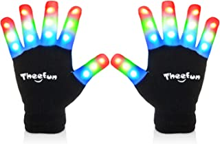 Theefun Led Gloves with Extra 4 Batteries for Kids, Kids Finger Light Up Flashing Gloves Party Costume Glow Toys for Boys and Girls,Small