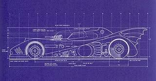HandTao Blueprint - Batman 1989 Batmobile top View Artwork Living Room Home Decor Decorations Poster 24